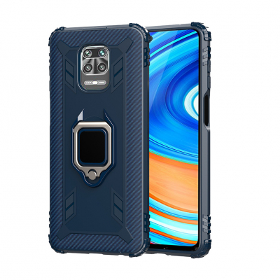 Чохол Lenuo Carbon Fiber Ring Series для Redmi Note 9S / 9 Pro / 9 Pro Max Blue