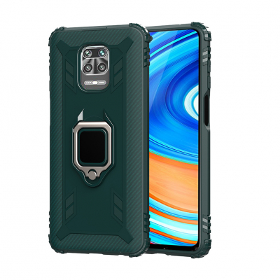 Чохол Lenuo Carbon Fiber Ring Series для Redmi Note 9S/9 Pro/9 Pro Max Green