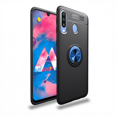 Накладка Lenuo Color Bracket для Samsung Galaxy A20s A207F Black / Синее Кольцо
