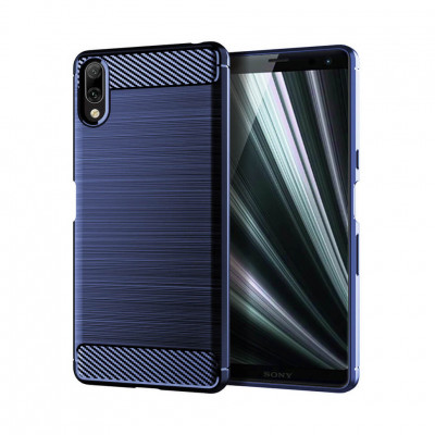 Чохол Lenuo Carbon Fiber для Sony Xperia L3 Navy Blue