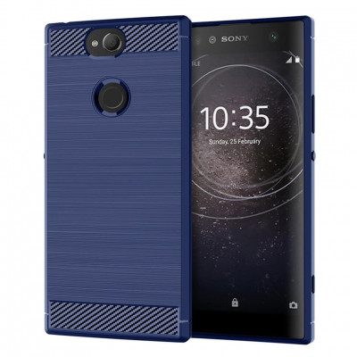 Накладка Lenuo Carbon Fiber для Sony Xperia XA2 Plus H4413 Navy Blue