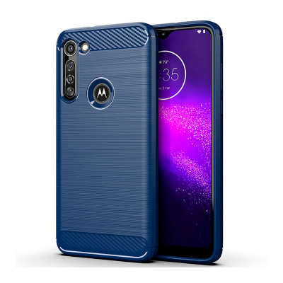 Чохол Lenuo Carbon Fiber для Motorola G8 Power Navy Blue