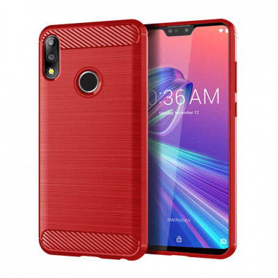 Чехол Lenuo Carbon Fiber для Asus ZenFone Max Pro M2 (ZB631KL) Red